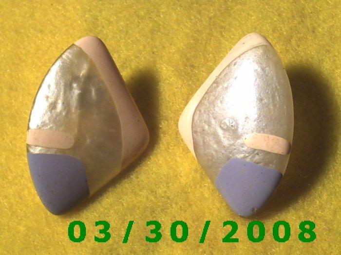 Painted Shell Pierced Earrings  (032)