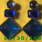 Gold w/Violet, Blue n Green Stones Pierced Earrings (033)