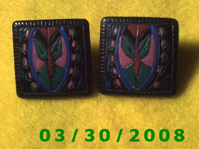 Black Stone, Carved and Painted Pierced Earrings  (018)