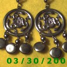 Silver w/snakes and charms Pierced Earrings  (040)