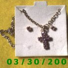February Birthstone Necklace and Earrings Set Amethyst (002)