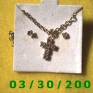 April Birthstone Necklace and Earrings Set Diamond (003)