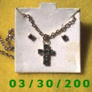 May Birthstone Necklace and Earrings Set Emerald (004)