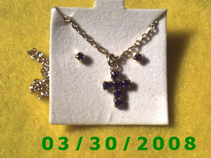September Birthstone Necklace and Earrings Set Sapphire (007)
