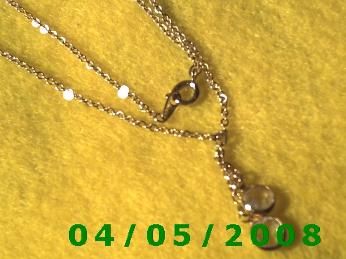 Gold Necklace w/2 Crystals    E5024