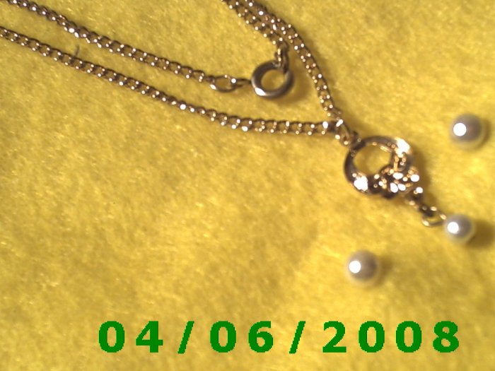 Gold Necklace w/Charm and matching pierced earringsE5033