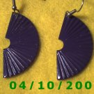 Purple Fan Pierced Earrings     Q009