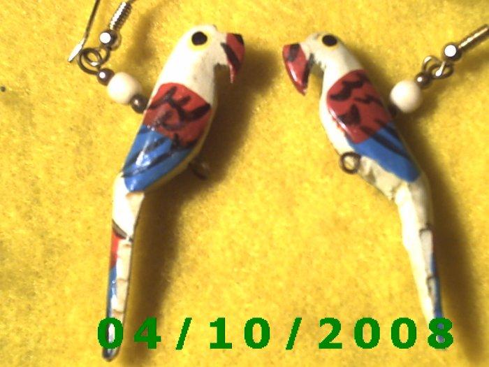 Wooden Parrots Pierced Earrings     Q012