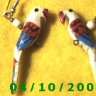 Wooden Parrots Pierced Earrings     Q012