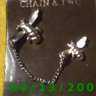 Chain and 2 Bees Silver Vintage Hat Pins            Q2002