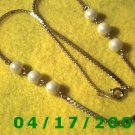 Gold Necklace w/White Beads    EI005