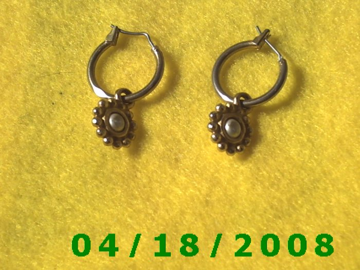 Silver Hoop Pierced Earrings w/Gold Charm (LCI)        Q3A004