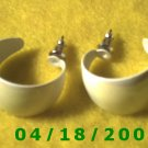 White Hoop Pierced Earrings     Q3024