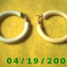 White Hoop Pierced Earrings    Q3057