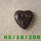 Gold Heart w/Ruby, Emerald and Topaz Stones (097)