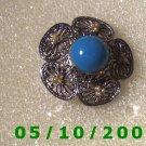 Silver Filligre w/Blue Stone Pin  A089