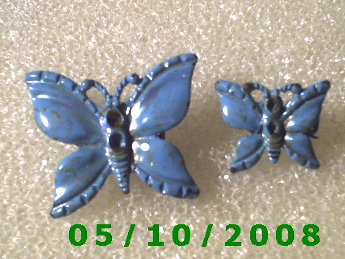 1pr. Blue Butterfly Pin