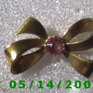 Gold Bow w/Pink Stone Pin    B030