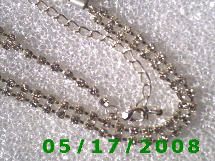 "16.5"" Silver Necklace, Rhinestone 6mm (008)"