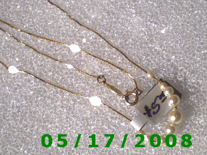 """16"""" Gold Plated Necklace 1mm  signed Napier w/9 pearls (006)"""