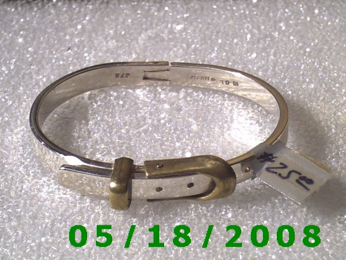 "Adjustable 2 1/4 to 2 1/2"" Mexico Silver Bracelet (052)"