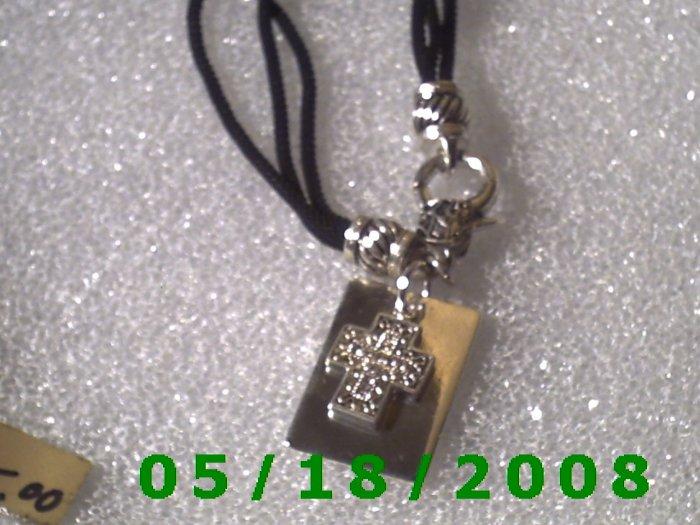 3 Strand Black Nylon Bracelet w/Silver Cross and Rhinestones...Roll2  011