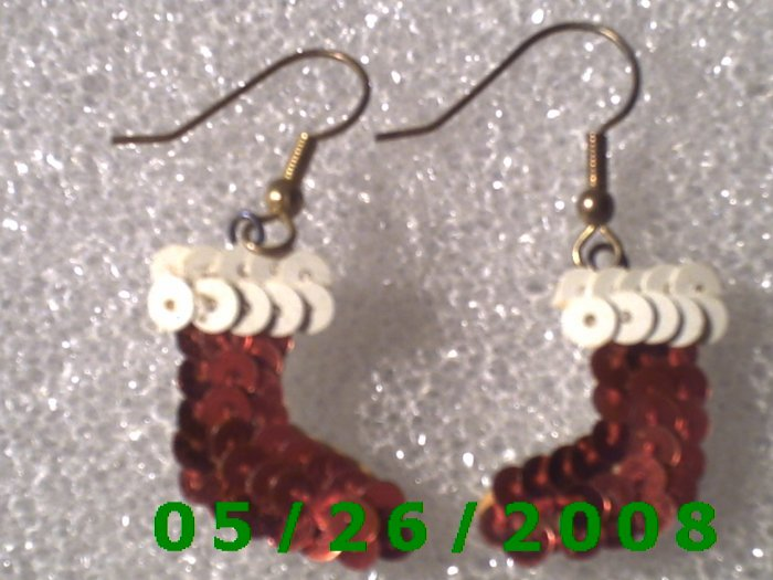 Sequined Stocking Pierced Earrings     C015