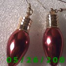 Red Light Bulb Pierced Earrings     C018