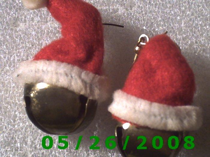 Santa's Hat and Bell Pierced Earrings     C020