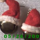 Santa's Hat and Bell Pierced Earrings     C020
