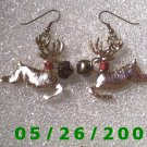 Gold Fiber Raindeer Pierced Earrings     C022