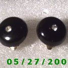 Black w/Clear Stone Clip On Earrings    D017 1009