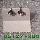Silver w/Rhinestones Clip On Earrings  (D010)
