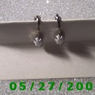 Silver w/White Stone Clip On Earrings    D008