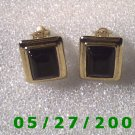 Gold w/Black Stone Clip On Earrings    D005