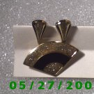 Gold w/Black n Gold Sparkle Clip On Earrings.& Pin    D004