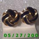 Gold n Blue Knot Clip On Earrings    D026 1012