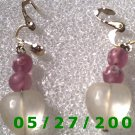 Beads n Clear Hearts Clip On Earrings    D033