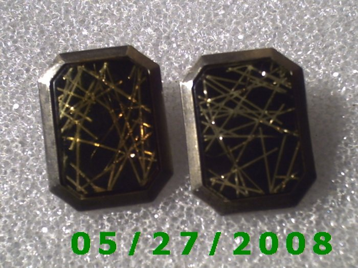 Silver w/Gold n Black Stone Clip On Earrings    D034