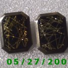 Silver w/Gold n Black Stone Clip On Earrings    D034