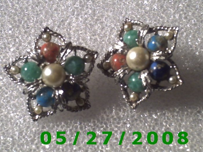 Silver w/Multi Colored Stones Clip On Earrings    D035