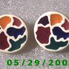 Multi Colored Clip On Earrings    D049