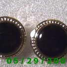Silver n Black Clip On Earrings     D052