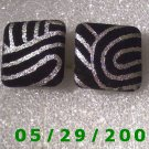 Black n Silver Clip On Earrings    D054