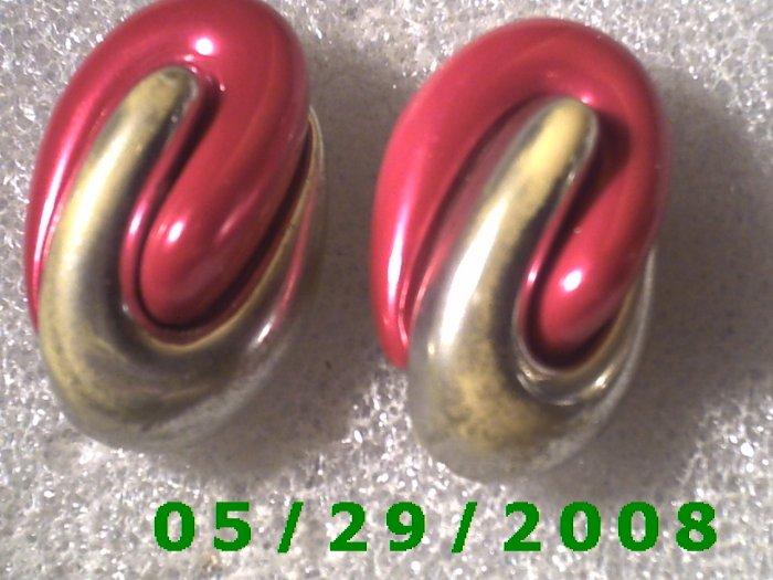 Red n Silver Clip On Earrings    D057