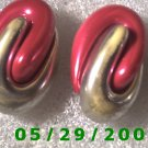 Red n Silver Clip On Earrings    D057