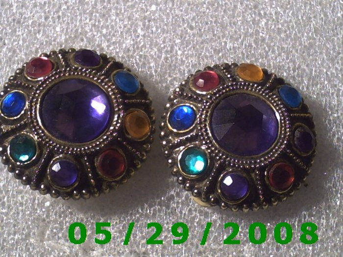 Multi Colored Clip On Earrings    D061