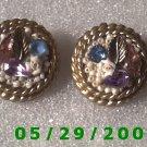 Leaf Stones n Pearls Clip On Earrings    D064