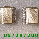 Gold, Fabric Under Glass Clip On Earrings    D067