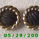 Gold n Black Clip On Earrings    D068